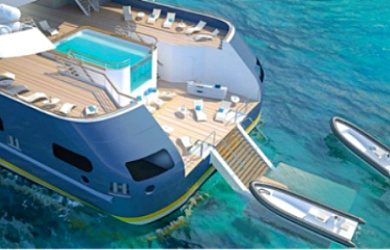 Ein schicker Sonnenbereich samt Infinity Pool und die Marina am Heck der Ponant-Yachten zählen zu den innovativsten neuen Designs