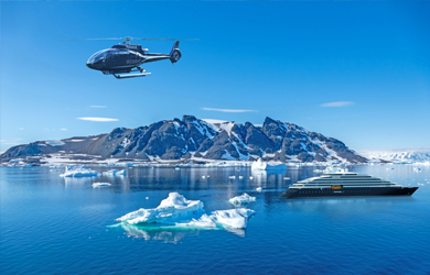 Scenic Eclipse in Antarctica with helicopter