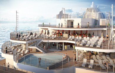 Sky Princess Wakeview Aft Infinity Pool