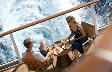 Dining al fresco on a balcony stateroom