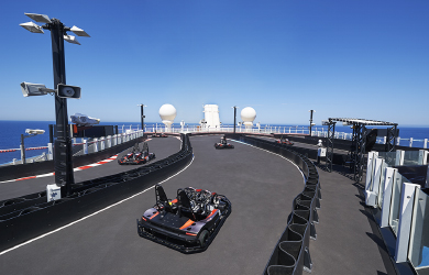 Go Kart Track on Norwegian Joy cruise ship - the world's first racetrack at sea