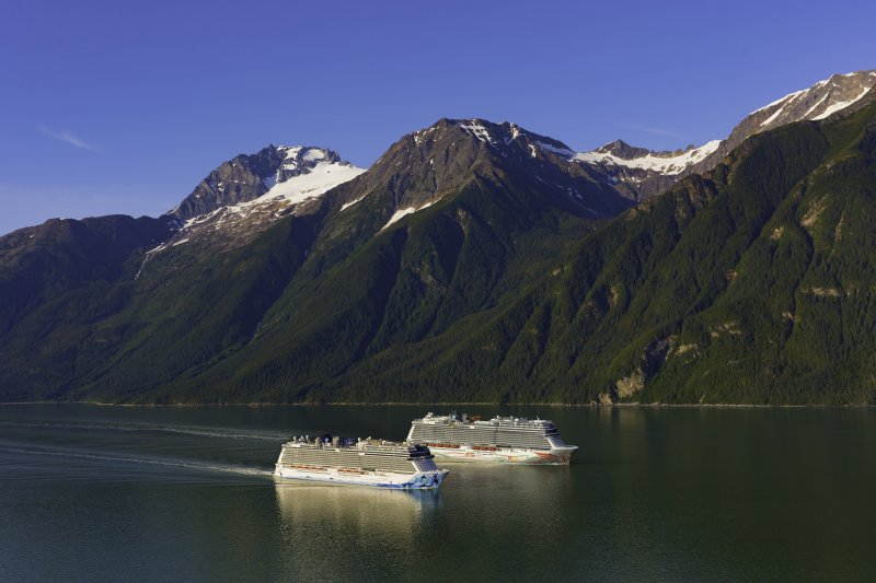 Sister cruise ships Norwegian Bliss and Norwegian Joy in Alaska