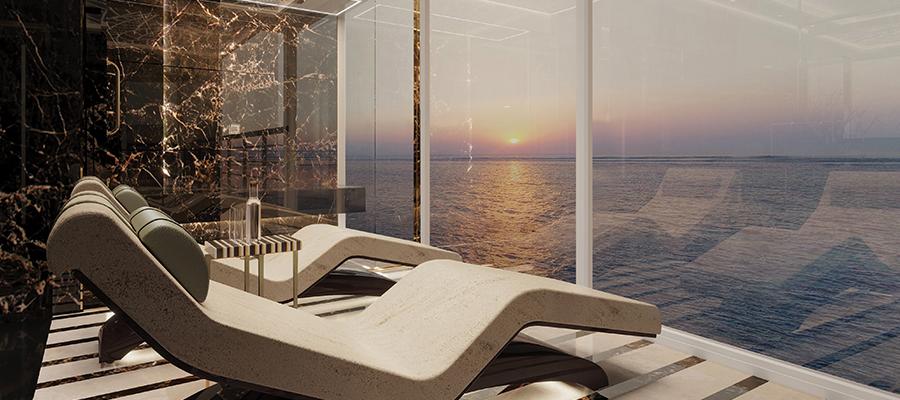 Spa-Bereich mit Blick auf das Meer