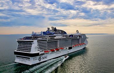 Die MSC Meraviglia auf See
