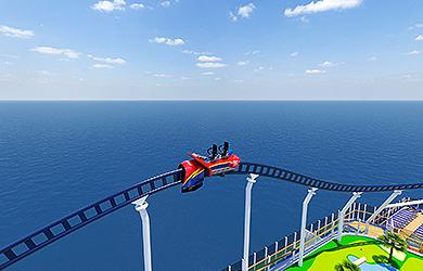 Achterbahn über dem Meer auf der neuen MArdi Gras von Carnival Cruise Line